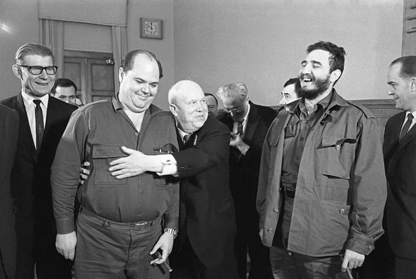 Alexander Ustinov Cuban delegation visits the USSR. The Secretary of the National Leadership of the Unified Party of Socialist Revolution of Cuba Emilio Aragonés Navarro, the First Secretary of the Communist Party of the Soviet Union (the CPSU) Nikita Khrushchev, the Secretary of the CPSU