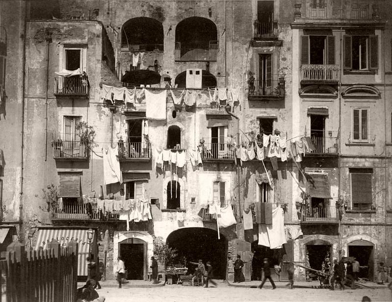Facades in S. Lucia, Naples, circa 1878