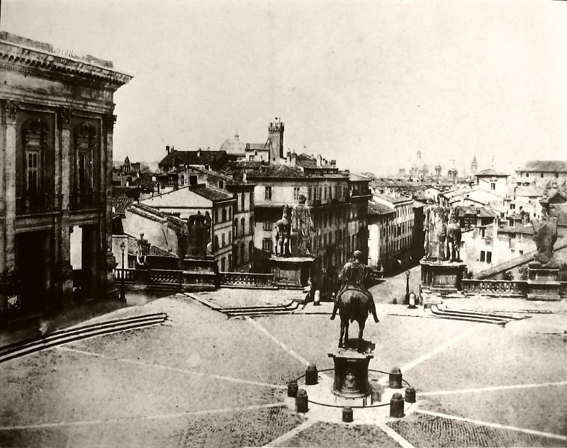 Piazza del Campidoglio from Palazzo Senatorio, Rome, circa 1862