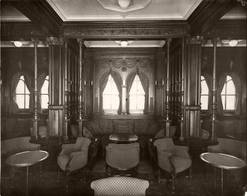 First class smoking room, circa 1906