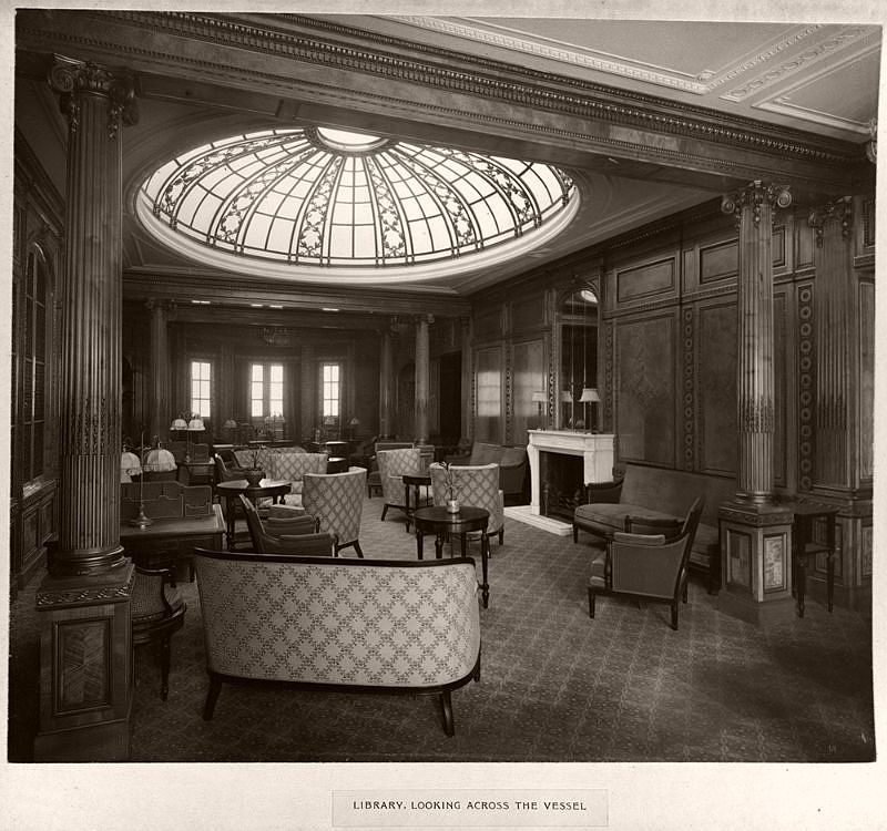 Library, looking across the vessel, circa 1906