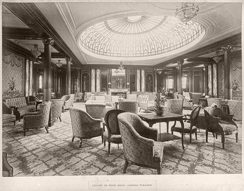 Lounge or music room, looking forward, circa 1906