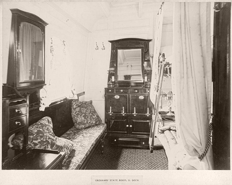 Ordinary state room, D deck, circa 1906