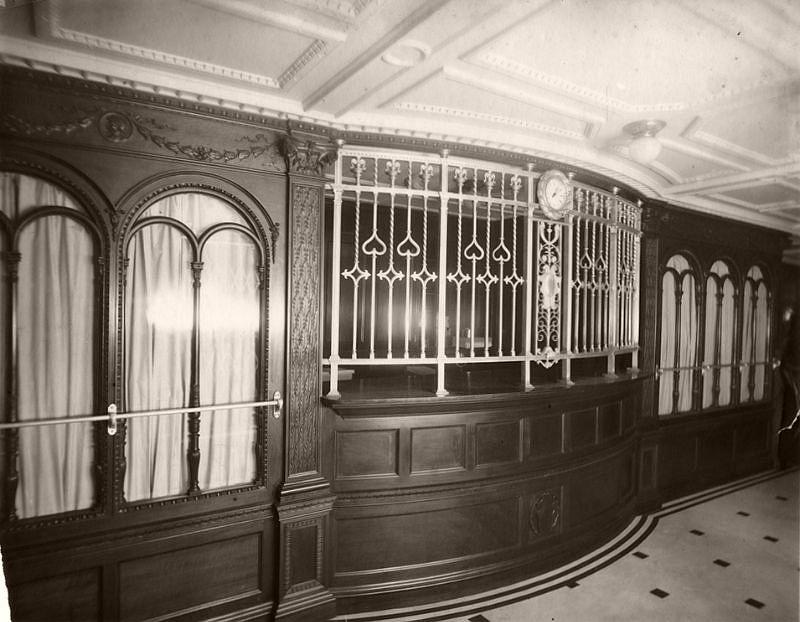 Purser's Bureau, on the Promenade Deck, Mauretania, circa 1906