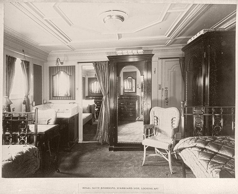 Regal suite bedrooms, starboard side, looking aft, circa 1906