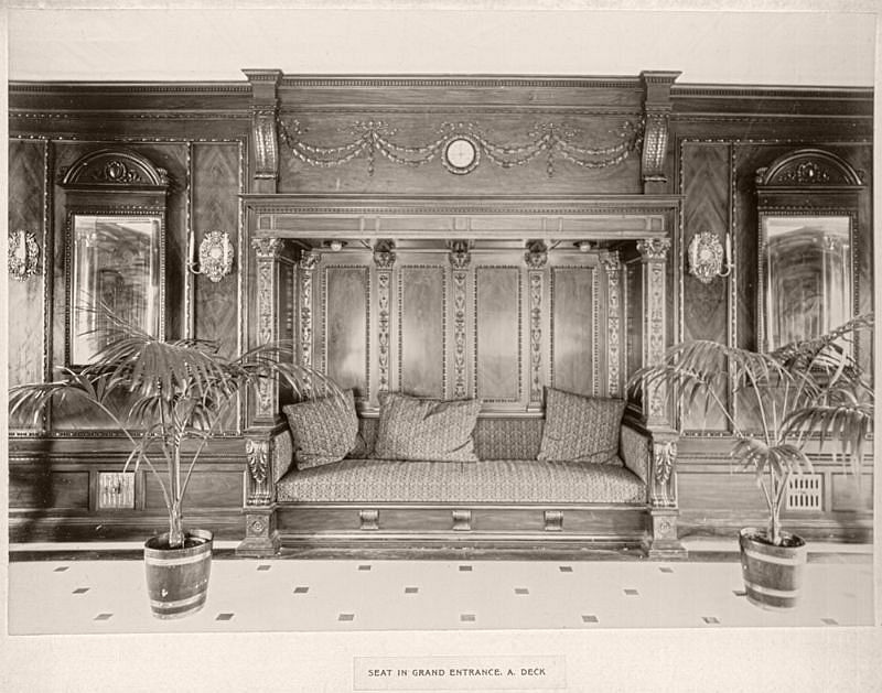 Seat in grand entrance. A. deck, circa 1906
