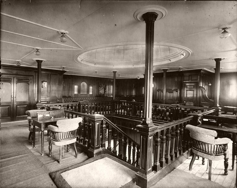 Second class lounge, circa 1906