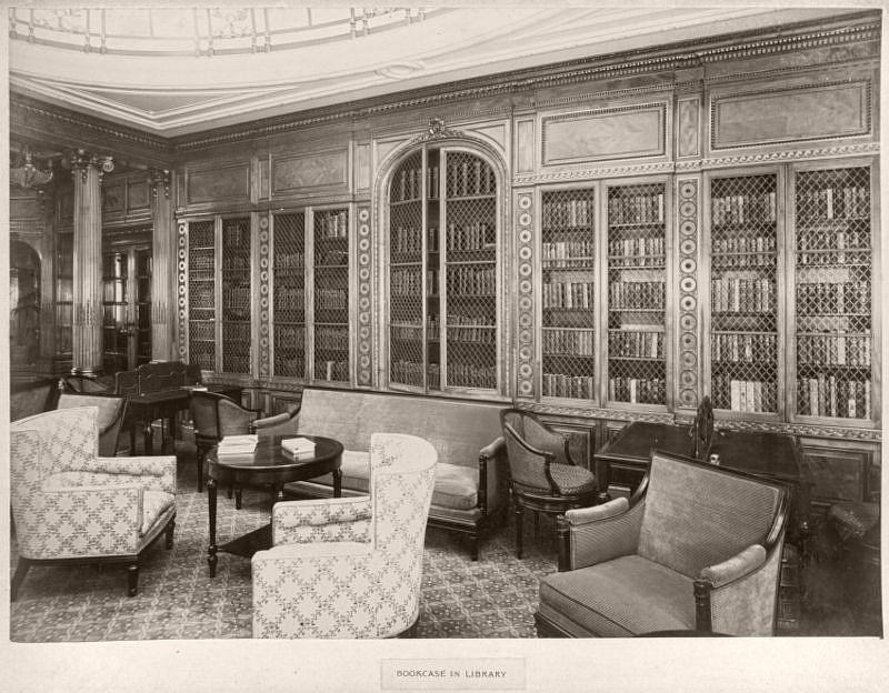 Bookcase in library, circa 1906