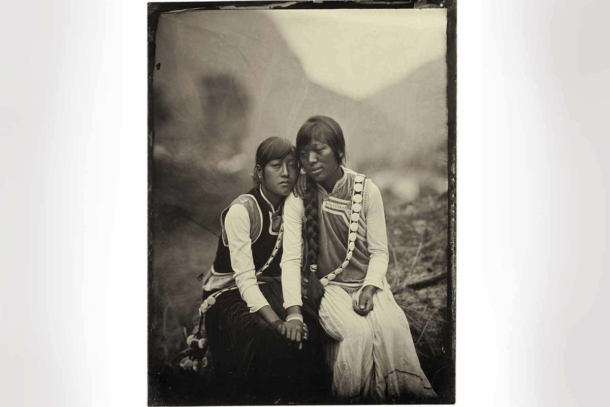 Luo Dan, Simple Song No. 4 (Yang Du Lei and Her Sister Yang Hua Lin, WaWa Village), 2010. Inkjet print from collodion negatives. © Luo Dan, Courtesy of M97 Gallery.