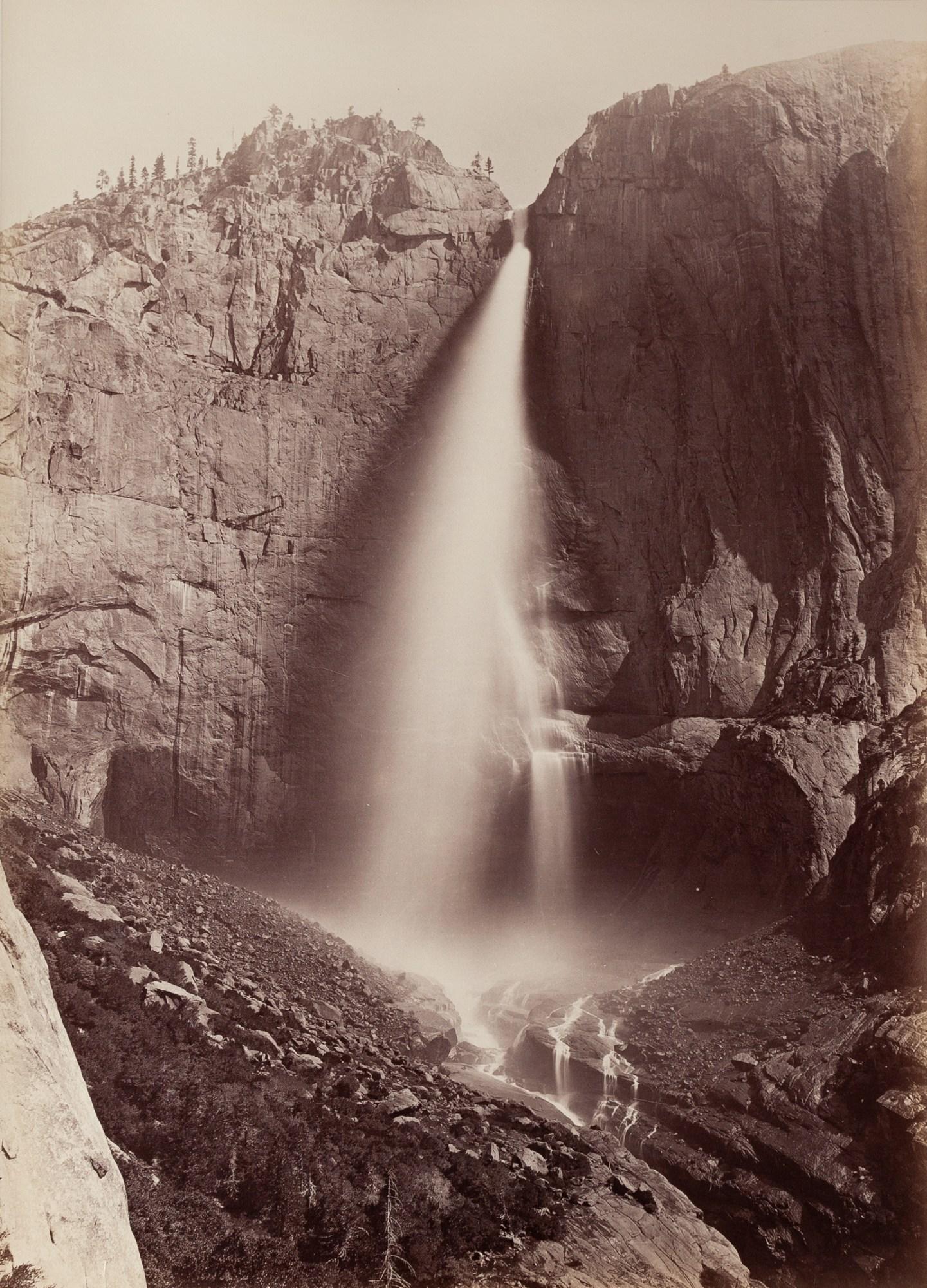 Carleton E. Watkins, Upper Yosemite Falls, 1600 Ft. View from Eagle Point Trail, Yosemite, 1878-81