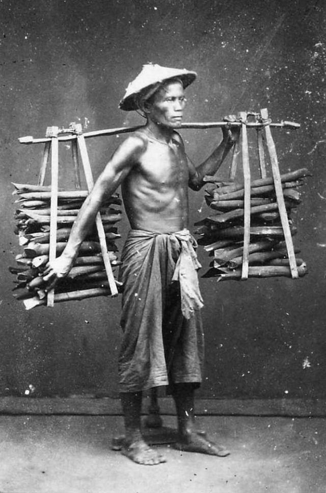 An Annamese woodcutter, 1880