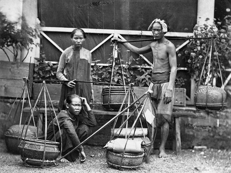 Fruit sellers in Saigon, 1886