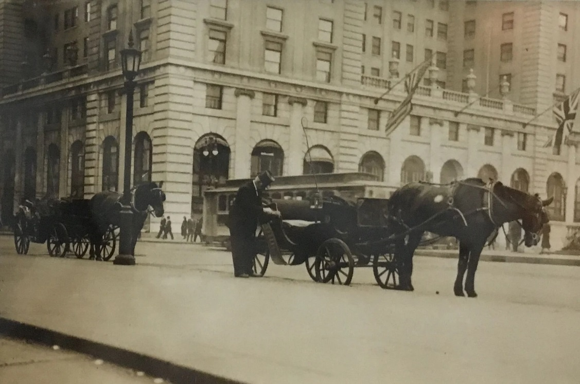 Untitled [horse carriages in front of the Plaza], n.d.