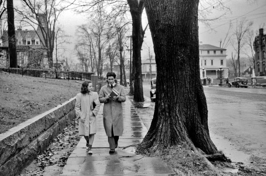 Connecticut. Rainy Day Chaperone. Coming home from school on a rainy day in Norwich, November 1940