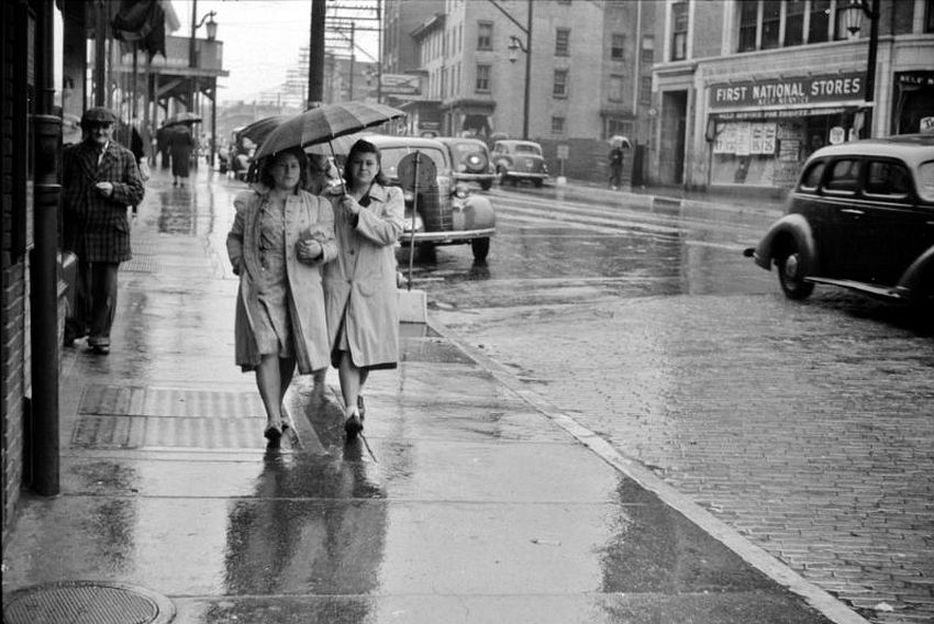 Connecticut. What Are Friends For. Norwich on a rainy day, November 1940