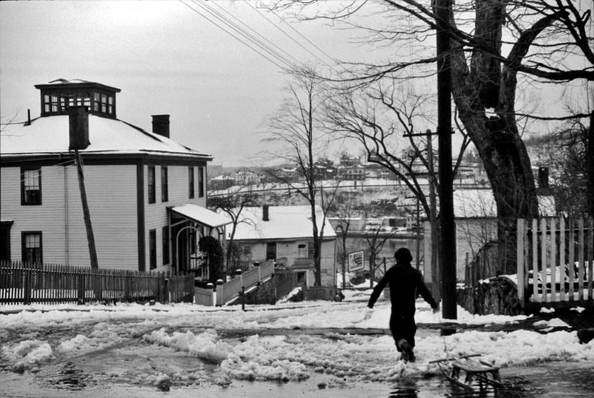 Connecticut. Youth in Winter. Street in Norwich, November 1940