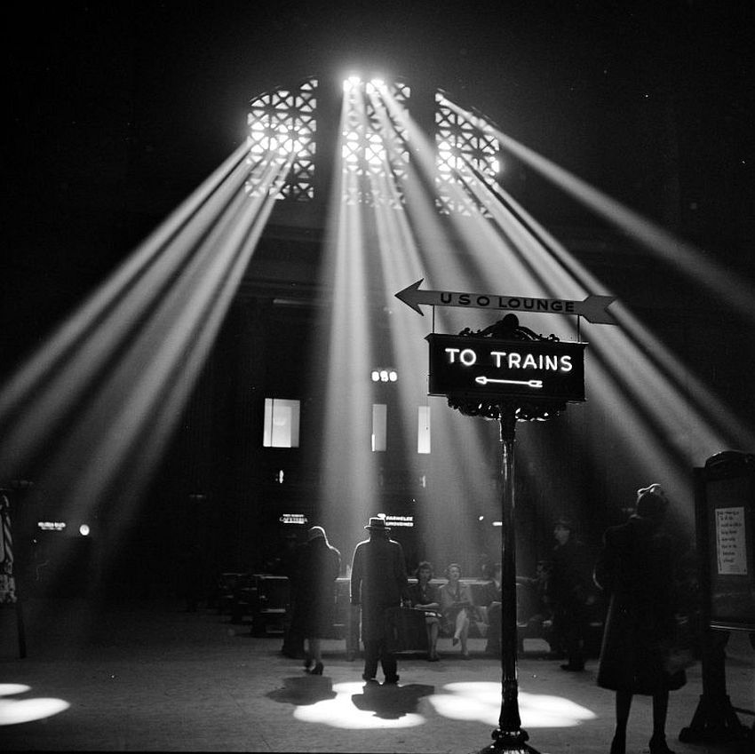 Illinois. Shedding Light. In the waiting room of the Union Station, Chicago, January 1943