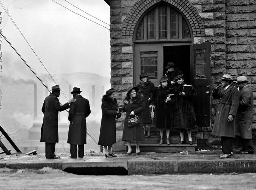 Pennsylvania. Sunday Best. Congregation of a Black church in the mill district of Pittsburgh, January 1941