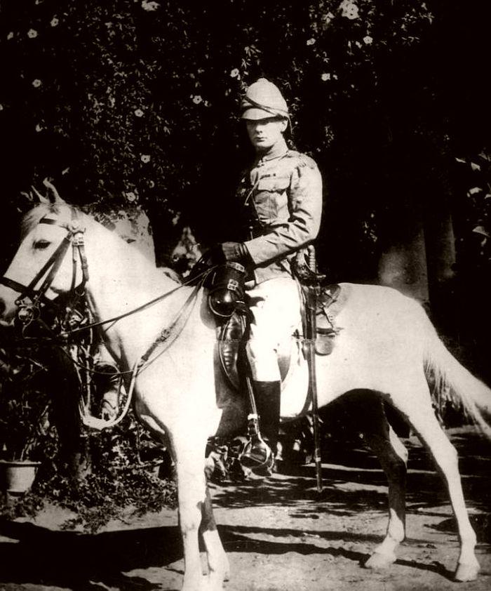 Churchill on horseback in Bangalore, India, 1897.