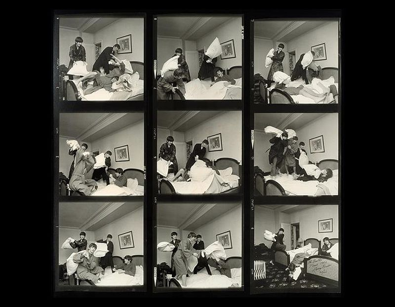 The Beatles Times Nine, Contact Sheet, 1964, printed 2004. Harry Benson (American, b. Scotland, 1929). Gelatin silver print; 120.7 x 122.6 cm. © Harry Benson. Image courtesy of the Cleveland Museum of Art