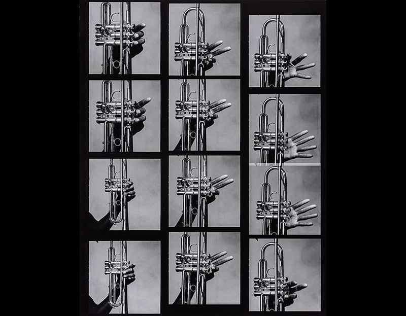 12 Hands of Miles Davis and His Trumpet, New York, 1986, printed 1999. Irving Penn (American, 1917–2009). Gelatin silver print, selenium toned; 60.3 x 47.1 cm. © The Irving Penn Foundation. Image courtesy of the Cleveland Museum of Art