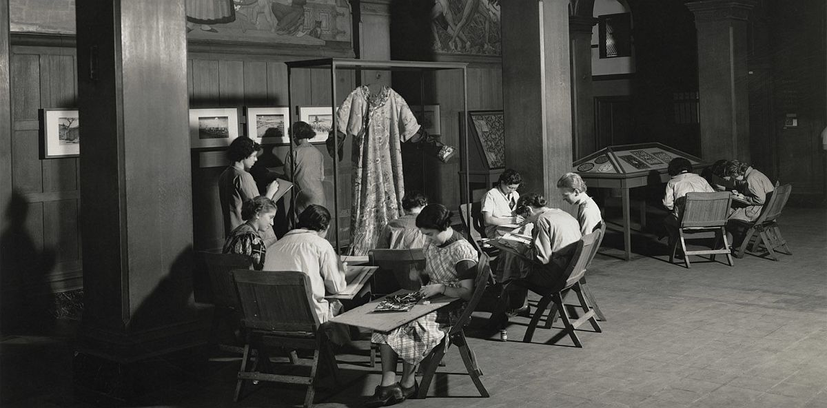 """""""Oriental Prints and Textiles,"""" with students, Washington Irving High School, 40 Irving Place, New York, NY, 1935"""