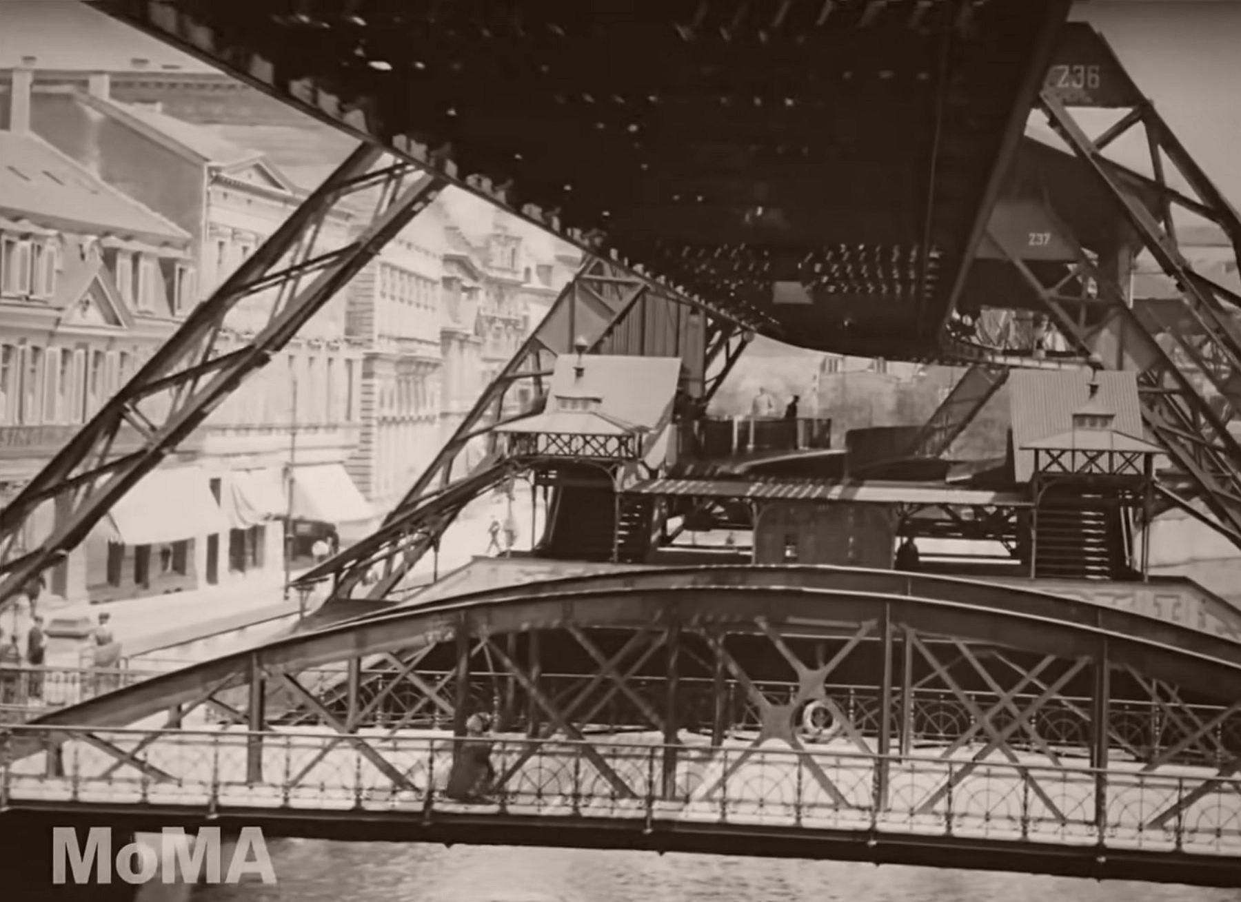 """Flying Train """"Wuppertal Schwebebahn"""" in Germany, 1902"""