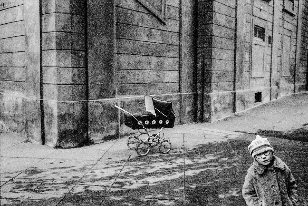 """Boy With Pram"" (ca. 1970), 20"" x 24"", Gelatin Silver Photograph © Paul Ickovic / Courtesy of Robert Klein Gallery"